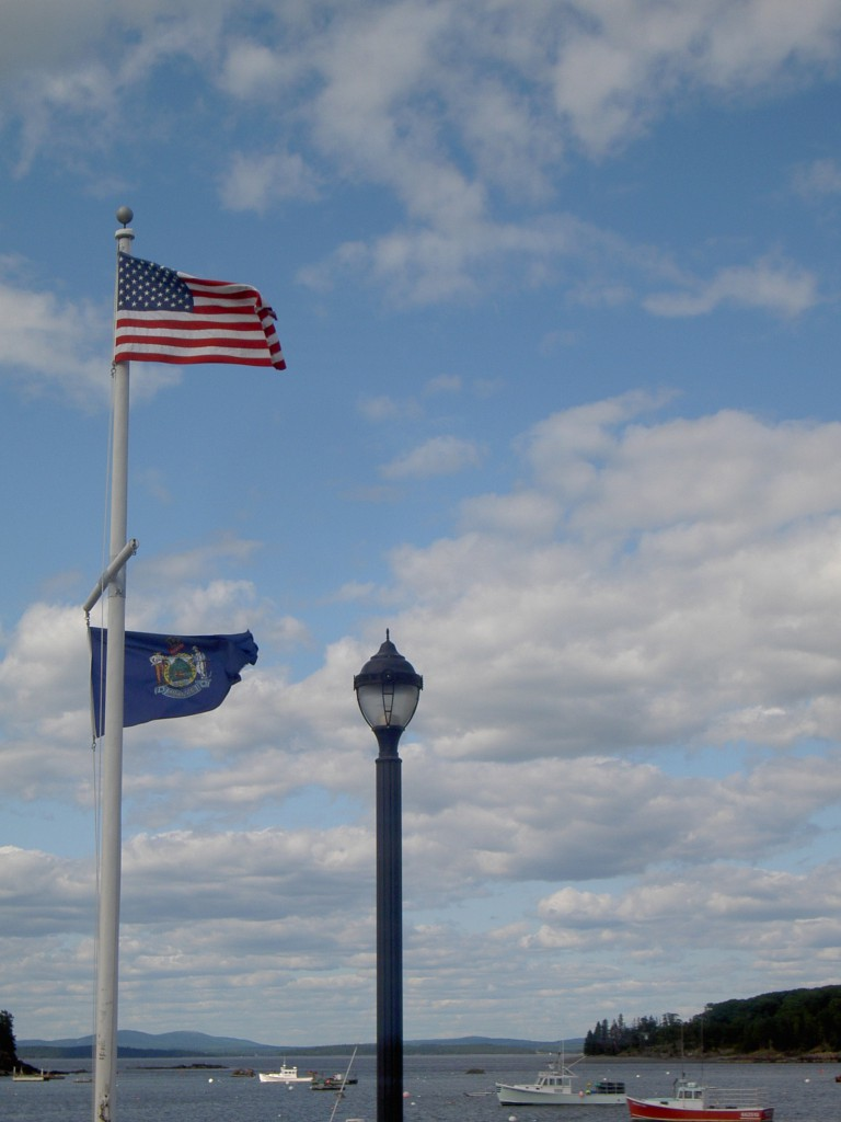 Maine and USA flag in Bar Harbor
